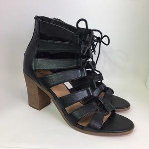 Crown Vintage Black Cage Lace Up Block Heels